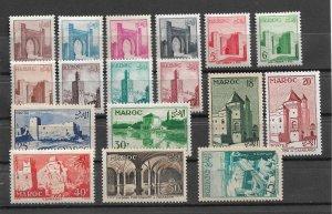 French Morocco 1955, Architecture, Scott # 311-327, VF MNH**,,30fr MVLH (FR-1)