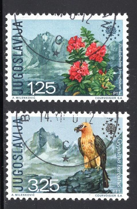 Yugoslavia   #1042-1043  1970  cancelled European nature protection rhododendron