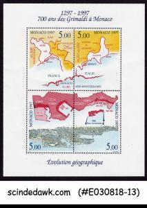 MONACO - 1997 EVOLUTION OF MONACO / MAP - MINIATURE SHEET MNH
