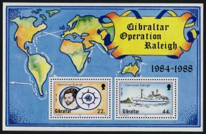 Gibraltar 539 MNH Ship, Map, Walter Raleigh