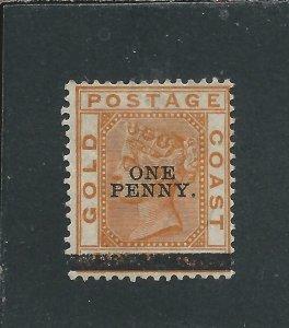 GOLD COAST 1889 1d on 6d ORANGE MM SG 20 CAT £150
