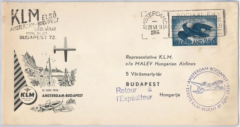 FIRST FLIGHT COVER - NETHERLANDS - KLM : Amsterdam /  Budapest 21.06.1956