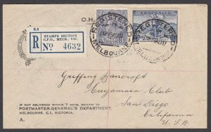 AUSTRALIA 1937 Registered cover Melbourne to USA - GV 3d + 3d Cable.........N591