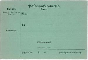 GERMANY \  BAYERN -  PARCEL POST FORM  Post-Packetabreffe