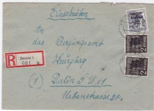 Germany Soviet Zone 1948 Dessau to Berlin  stamps cover  R20727