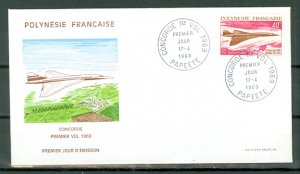 FRENCH POLYNESIA CONCORDE #C50...DAY of ISSUE VERY NICE COVER..