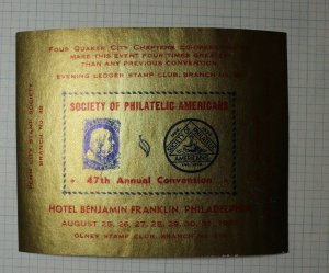 SPA Convention Hotel Benjamin Franklin Philadelphia PA 1941 Philatelic Souvenir