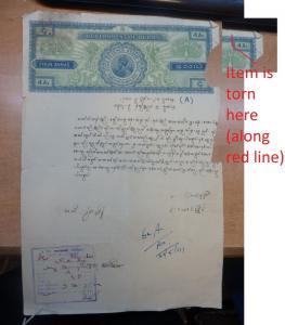 Burma KGV 4A Revenue Document Letpadan, rough condition (4bei)