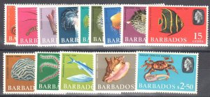 Barbados - Sc#267 to 280 Mint NH - Fish and Sea life
