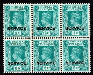 BURMA KG VI 1939 OFFICIALS 1½ As. Turquoise Opt SERVICE BLOCK OF SIX SG O19 MINT