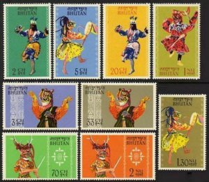 Bhutan 15-23,lightly hinged.Michel 22-30. Bhutanese Dancers,1964.