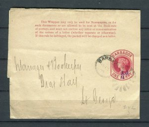 BARBADOS; 1890s early QV Wrapper fine used 1/2d. St. George usage