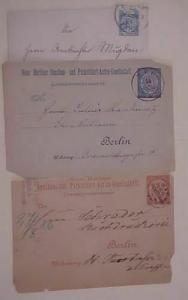 GERMAN 3 DIFF. LOCAL POST  1891 ENVELOPE,POSTAL CARDS 1886 x2