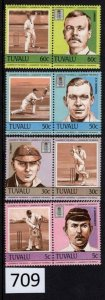 $1 World MNH Stamps (709), Tuvalu, #259-262, Leaders of Sport World, set of 8
