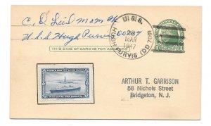 Naval Cancel 1947 USS Hugh Purvis DD 709 Eaton Poster Stamp UX27 Postal Card