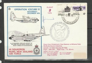 Ross Dependency cover, 1976 Operation Icecube 12, 40 Squadron, RNZAF, Signed by