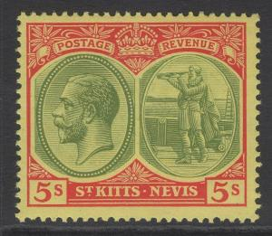 ST.KITTS-NEVIS SG34 1920 5/- GREEN & RED/PALE YELLOW MNH