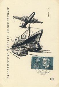 SARRE / SAARGEBIET - 1958 Mi.432 12fr Rudolf Diesel Ersttag Postkarte (FDC)