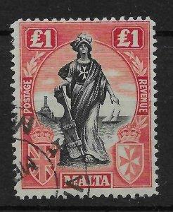 MALTA SG139 1922 1 BLACK & CARMINE-RED USED