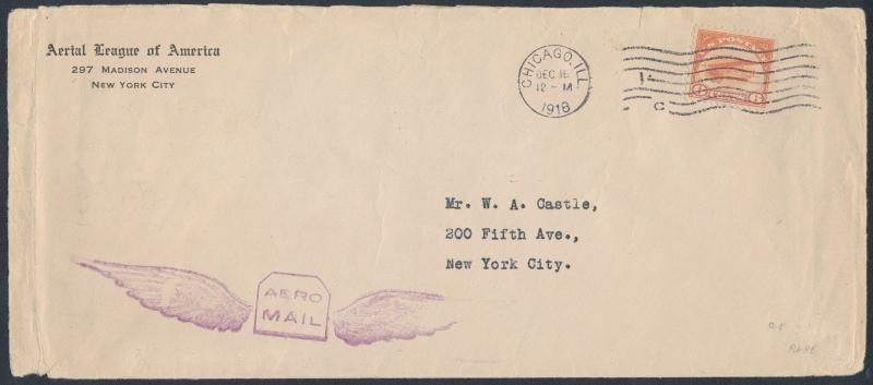 USGF #110e WITH #C1 ON COVER CHICAGO TO NEW YORK DEC 18,1918 BS649