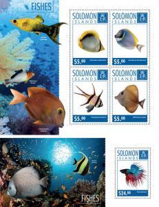 Fishes Fische Marine Fauna Solomon Islands MNH stamp set
