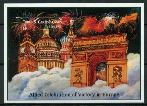 Turks & Caicos 1995 MNH WWII WW2 VE Day World War II Big Ben 1v S/S Stamps