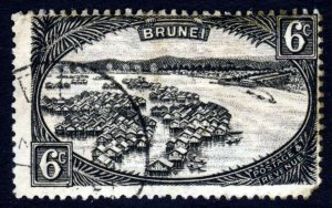 BRUNEI 1924 6c. Intense Black River Village SG 69 VFU