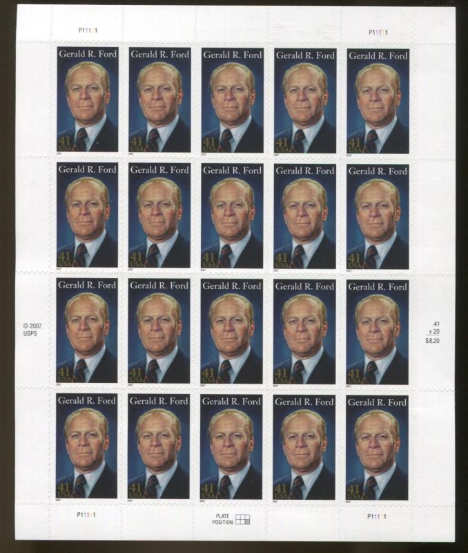 US Sheet MNH #4199 Gerald R. Ford, President  41 Cent Free Shipping   (Zblu)