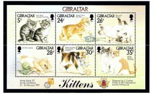 Gibraltar 726 MNH 1997 Kittens sheet of 3
