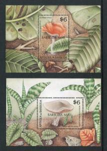 Antigua Barbuda 1186-1187, MNH, Overprint Barbuda mail. Mushroom's Fungi. x28404