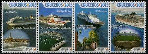HERRICKSTAMP NEW ISSUES URUGUAY Sc.# 2535 Cruise Ships 2015 Strip of 4
