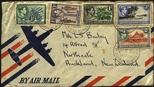 SOLOMON IS 1952 various GVI to1/- on cover Honiara to New Zealand..........22456
