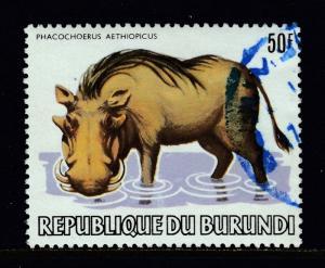 BURUNDI — SCOTT 596 — 1983 WILDLIFE — 50F WARTHOG — USED — SCV $55.00