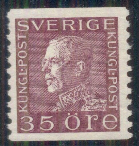 SWEDEN #181v (187c) 35ore red violet, WHITE PAPER, og, NH, XF, Facit $56.00+