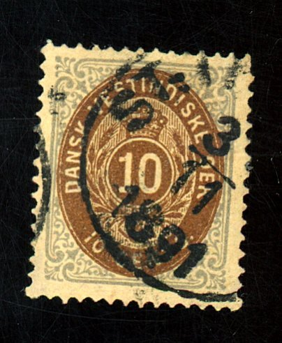 DANISH W INDIES #10 USED F-VF Cat $25