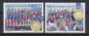 Serbia 2019 Europa Men and Women Volleyball Champions Sports Flags set MNH