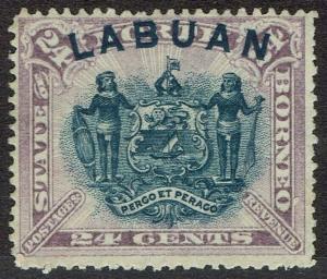LABUAN 1894 ARMS 24C PERF 13.5-14