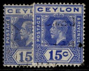 CEYLON GV SG311 + 311a, 15c SHADE VARIETIES, FINE USED.