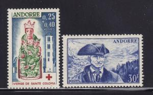 French Andorra Scott #'s 123 & B1 XF mint never hinged cv $ 59 ! see pic !