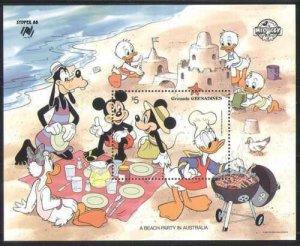Grenada Grenadines MNH S/S Disney's Australian Beach Party 1988