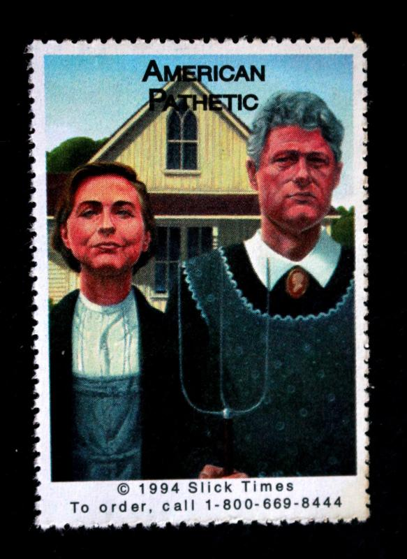 Vintage Crooked Hillary & Bill Clinton 1994 Poster Stamp MNH