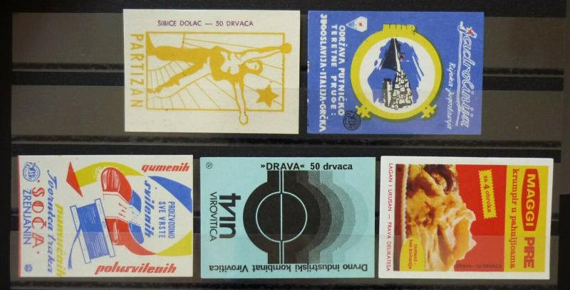 Yugoslavia Match Box Labels ! partisan textile industry boat ship N14