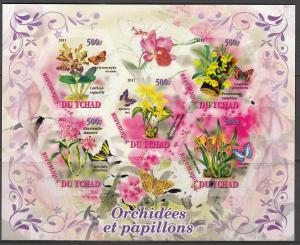 TCHAD CHAD SHEET IMPERF ORCHIDS BUTTERFLIES INSECTS