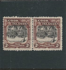 COOK IS 1944-46 2s BLACK & RED-BROWN PAIR MNH SG 144 CAT £76