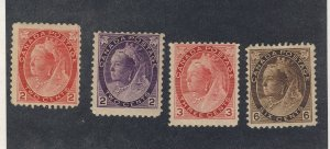 4x Canada Victoria Numeral Mint Stamps #77-76-78-80 Guide Value = $280.00