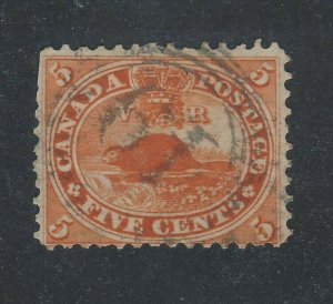 Canada Older Used Stamp #15-5c Beaver 4-ring #19 F Guide Value= $50-80.00