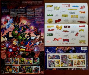 HERRICKSTAMP GREAT BRITAIN Sc.# 3815-24, 3825 Marvel Comics Presentation Pack
