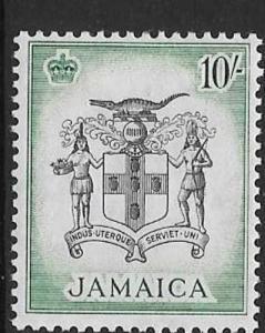 JAMAICA SG173 1956 10/- BLACK & BLUE GREEN MTD MINT