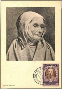 90121 -  VATICAN - MAXIMUM CARD - SAINT Angela MERICI -  Religion  1950