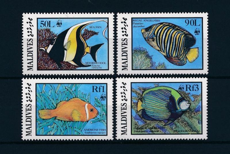 Maldives MNH 1185-8 Fish Marine Life WWF